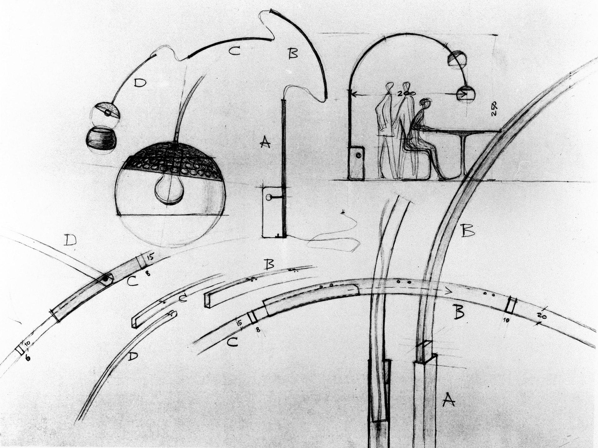 První skica svítidla Arco © Fondazione Achille Castiglioni