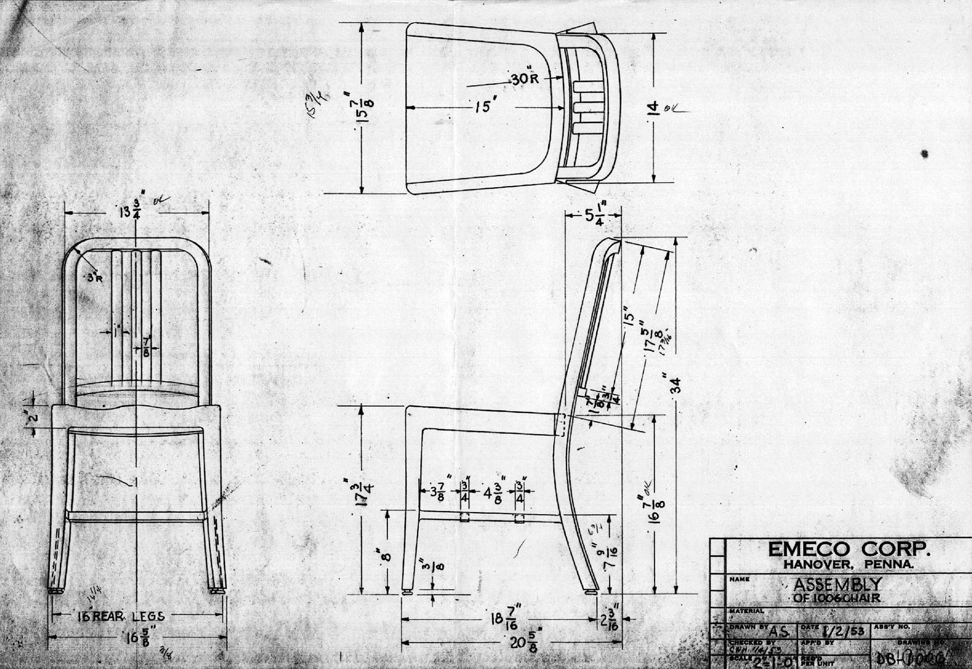 Originální technický nákres židle 1006 Navy Chair. © Emeco