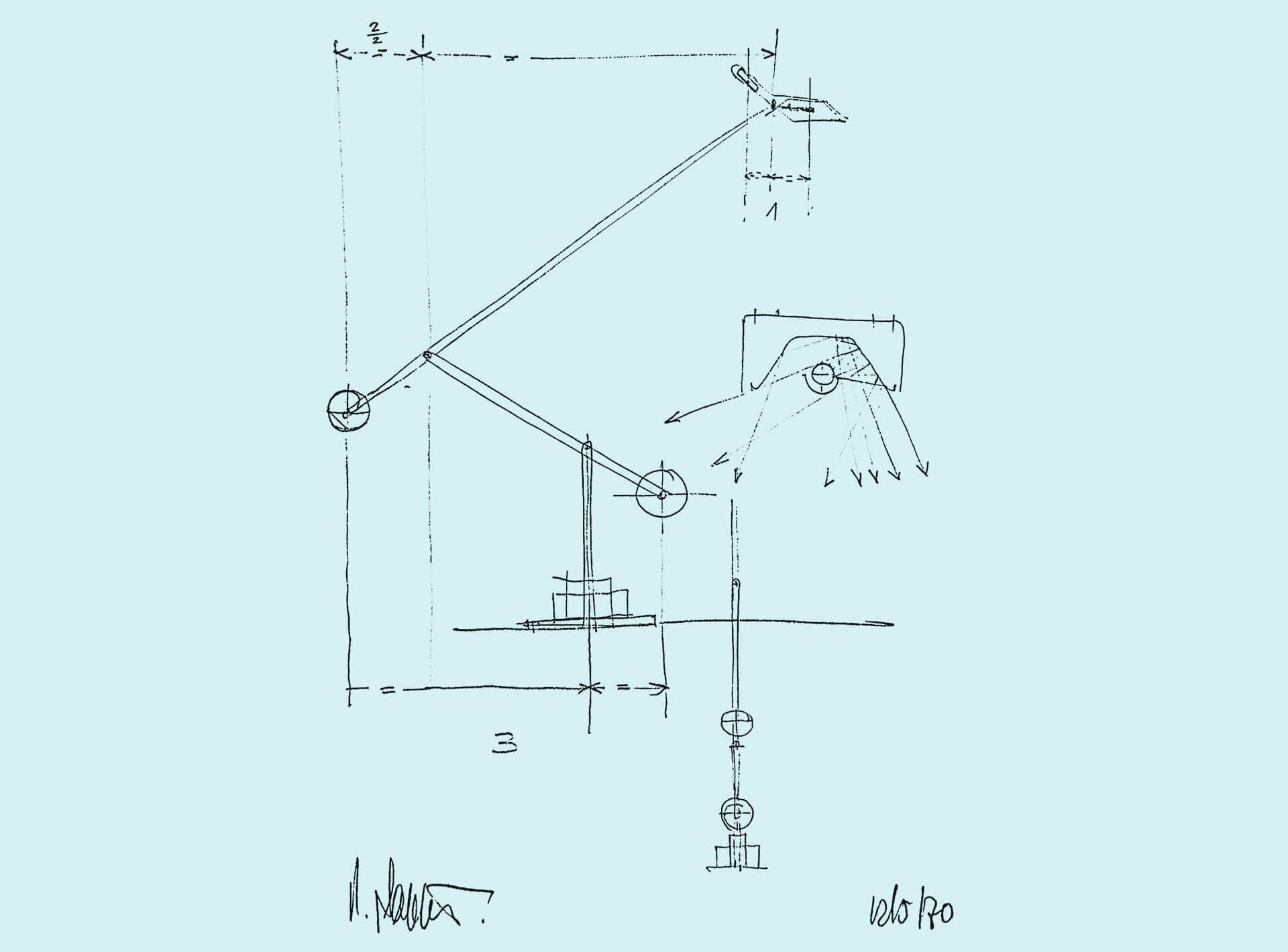 První skica stolní lampy Tizio. © Richard Sapper